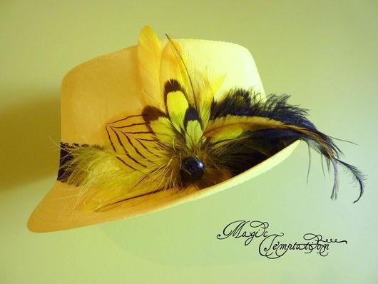 Шляпы ручной работы. Ярмарка Мастеров - ручная работа. Купить Шляпа с перьями. Handmade. Комбинированный, шляпка с перьями, бохостиль
