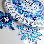 Для дома и интерьера handmade. Livemaster - original item watch glass, fusing Gzhel motifs. Handmade.