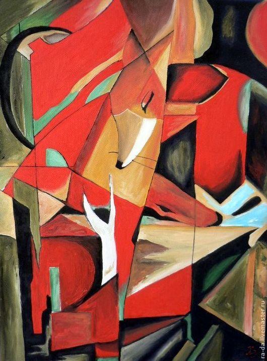 """Абстракция ручной работы. Ярмарка Мастеров - ручная работа. Купить Картина """"Лисицы"""" по мотивам Франца Марка. Handmade. Разноцветный, Живопись"""