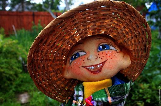 Коллекционные куклы ручной работы. Ярмарка Мастеров - ручная работа. Купить текстильная кукла  Ванечка. Handmade. Зеленый, мех искусственный