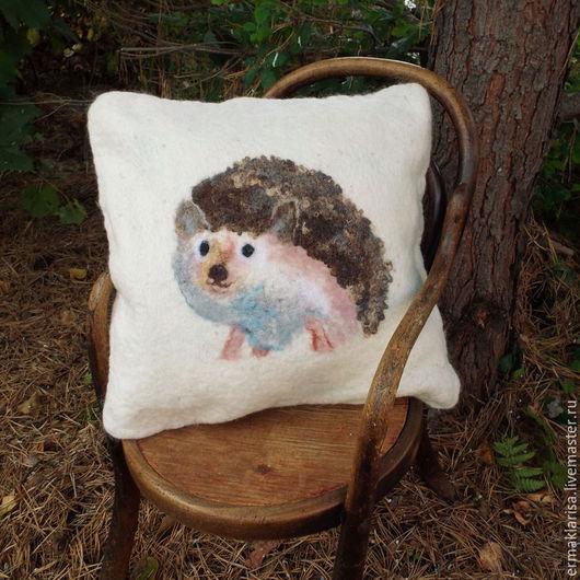 Текстиль, ковры ручной работы. Ярмарка Мастеров - ручная работа. Купить Подушка валяная диванная Ёжик. Handmade. Валяная подушка