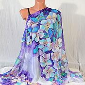 Аксессуары handmade. Livemaster - original item Silk scarf batik White flowers on purple. Handmade.
