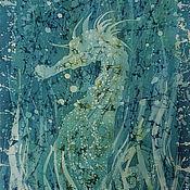 Аксессуары ручной работы. Ярмарка Мастеров - ручная работа Шарф Батик Морской конек, натуральный шелк. Handmade.