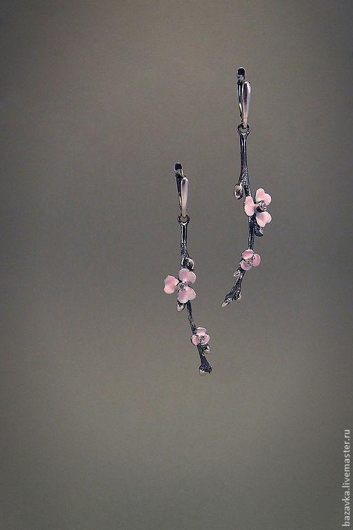 """Серьги ручной работы. Ярмарка Мастеров - ручная работа. Купить Серебряные серьги """"Сакура"""". Handmade. Нежно-розовый, весна, комплект"""