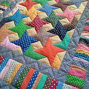 Для дома и интерьера ручной работы. Ярмарка Мастеров - ручная работа Детское лоскутное одеяло Звёзды в горошек. Handmade.