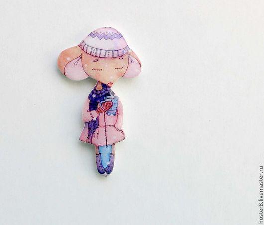 """Броши ручной работы. Ярмарка Мастеров - ручная работа. Купить Брошь """"Милая мышка"""" (0127). Handmade. Бежевый, нежно-розовый"""