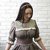 Одежда ручной работы. Ярмарка Мастеров - ручная работа Платье из хлопка с вышивкой коричневое. Handmade.