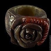 Украшения ручной работы. Ярмарка Мастеров - ручная работа Кольцо цельный натуральный агат, размер 19, композиция Роза. Handmade.