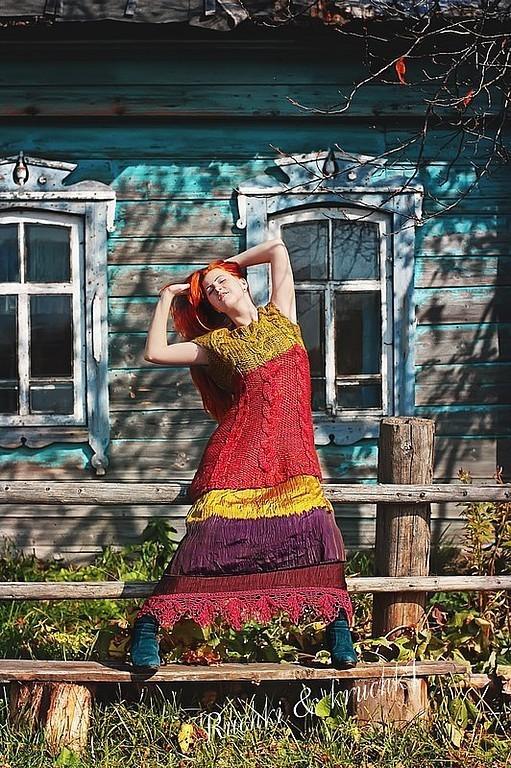 """Платья ручной работы. Ярмарка Мастеров - ручная работа. Купить """"Малина и лайм"""" Авторское вязаное мини-платье с косами и мит. Handmade."""