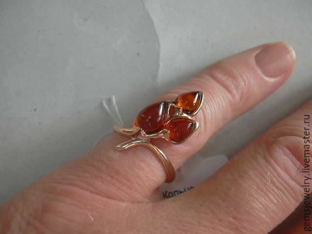 Ring 'LILAC' AMBER,silver 925,gold plated, Rings, Ekaterinburg,  Фото №1