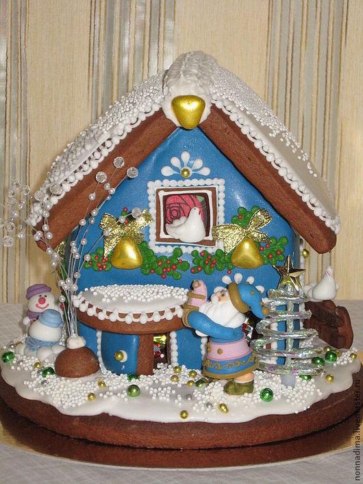Кулинарные сувениры ручной работы. Ярмарка Мастеров - ручная работа. Купить Пряничный новогодний домик. Handmade. Синий, пряничное тесто