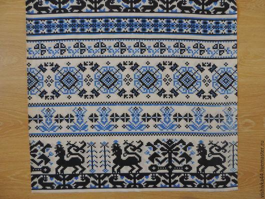 Шитье ручной работы. Ярмарка Мастеров - ручная работа. Купить лен орнамент  синий. Handmade. Разноцветный, лён натуральный