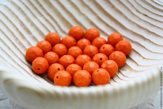 Для украшений ручной работы. Ярмарка Мастеров - ручная работа. Купить Бусина КОРАЛЛ оранжевый гранёный шар 8 мм. Handmade.