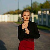 Одежда ручной работы. Ярмарка Мастеров - ручная работа Блузка шелковая,черная блузка в офис,блузка со Swarovski,блузка. Handmade.