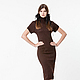 BB_026 Платье-футляр с короткими рукавами реглан с ажурной мережкой, цвет махагон, 40% мериносовая шерсть, 40% акрил, 20% метанит.