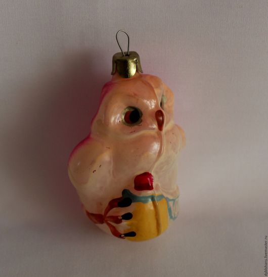 """Винтажные куклы и игрушки. Ярмарка Мастеров - ручная работа. Купить Винтажная елочная игрушка """"Совушка """". Handmade. Бледно-розовый"""