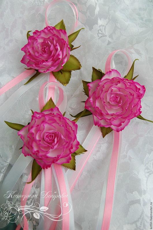 Браслеты ручной работы. Ярмарка Мастеров - ручная работа. Купить Браслетик с розой из фоамирана. Handmade. Розовый, цветочный аксессуар, ревелюр