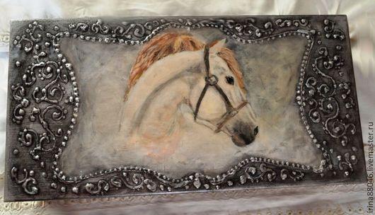 """Шкатулки ручной работы. Ярмарка Мастеров - ручная работа. Купить Короб для вина """"Лошадь в серебре"""". Handmade. Лошадь, шкатулка"""