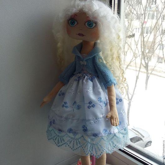Человечки ручной работы. Ярмарка Мастеров - ручная работа. Купить Текстильная кукла -Снежанна. Handmade. Голубой, нежность романтика стиль