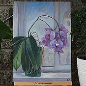 Картины ручной работы. Ярмарка Мастеров - ручная работа Цветы на окне. Орхидея.. Handmade.