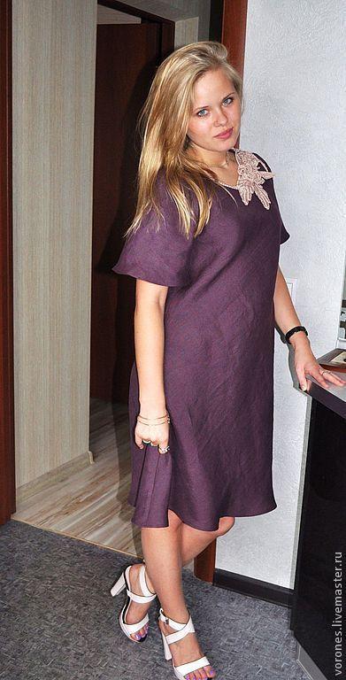 """Платья ручной работы. Ярмарка Мастеров - ручная работа. Купить Льняное платье """"Спелый баклажан"""". Handmade. Фиолетовый, платье из льна"""
