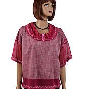 Одежда handmade. Livemaster - original item Blouse light viscose and lace wine color
