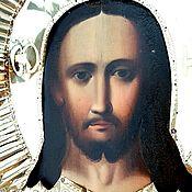 Винтаж handmade. Livemaster - original item The icon Christ PANTOCRATOR 19th century painting 44h38,5 cm. Handmade.