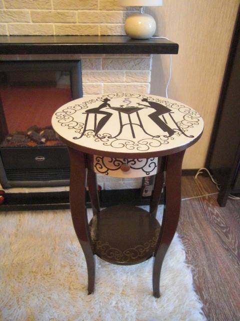 """Мебель ручной работы. Ярмарка Мастеров - ручная работа. Купить Кофейный столик """"Счастье на двоих"""". Handmade. Стол, эмалевая краска"""