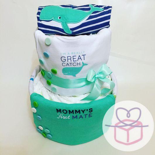 """Подарки для новорожденных, ручной работы. Ярмарка Мастеров - ручная работа. Купить Торт из подгузников """"Малютка Китёныш"""". Handmade. Торт из памперсов"""