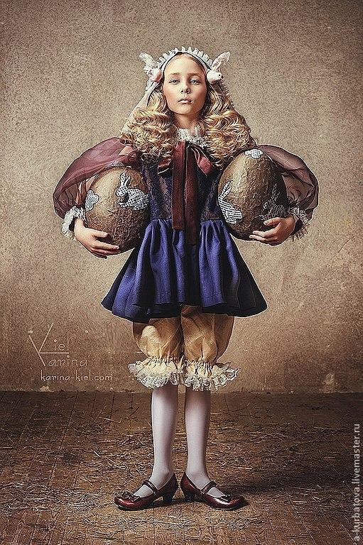 Карнавальные костюмы ручной работы. Ярмарка Мастеров - ручная работа. Купить Комплект для девочки.. Handmade. Тёмно-синий, пасхальный подарок