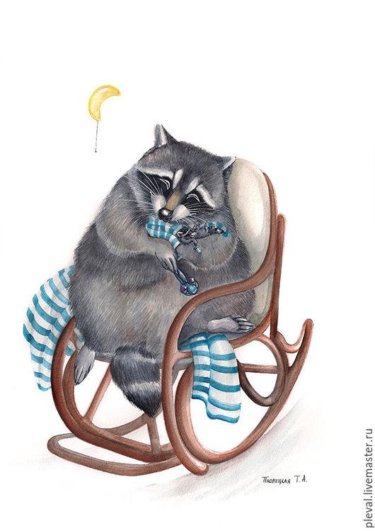 Животные ручной работы. Ярмарка Мастеров - ручная работа. Купить Картина акварелью  с енотом Енотова мама. Handmade. Енот