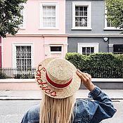 Аксессуары ручной работы. Ярмарка Мастеров - ручная работа Шляпка с именной вышивкой и натуральным жемчугом. Handmade.