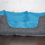 Для домашних животных, ручной работы. Ярмарка Мастеров - ручная работа Лежанка синяя для кошек и собак Боннифаций 60х45х21см. Handmade.