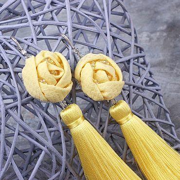 """Украшения ручной работы. Ярмарка Мастеров - ручная работа Серьги-кисти """"Камилла"""" желтые. Handmade."""