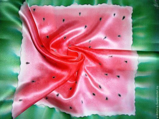 """Шали, палантины ручной работы. Ярмарка Мастеров - ручная работа. Купить """"Сочный арбуз"""" шейный платочек, батик.53-53см.Нат.шёлк.Атлас.. Handmade."""