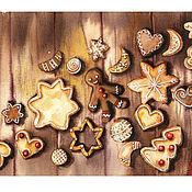 Картины и панно handmade. Livemaster - original item Christmas. Gingerbread watercolor. Handmade.