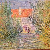 Картины и панно handmade. Livemaster - original item A house in the village.pastel.. Handmade.