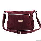 Сумки и аксессуары handmade. Livemaster - original item Crossbody bag suede burgundy with shoulder strap with pockets. Handmade.