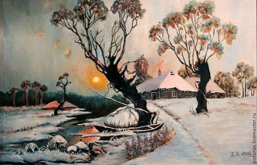 Пейзаж ручной работы. Ярмарка Мастеров - ручная работа. Купить Картина маслом на холсте по мотивам картины Клевера. Handmade. Голубой
