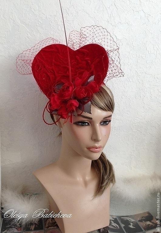 """Шляпы ручной работы. Ярмарка Мастеров - ручная работа. Купить Шляпка-сердце  """"St. Valentine"""". Handmade. Ярко-красный, валентин"""