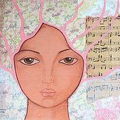 """Картины и панно ручной работы. Ярмарка Мастеров - ручная работа Картина в смешанной технике """"Муза"""". Handmade."""