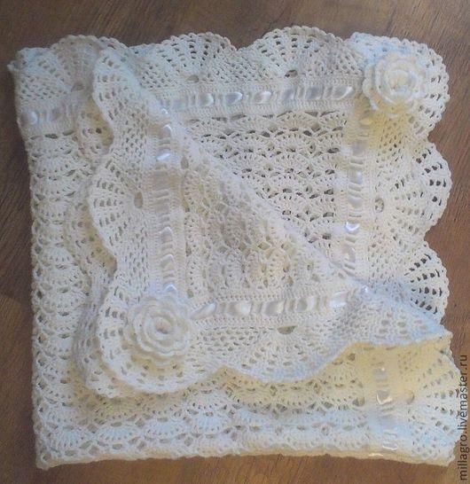 """Пледы и одеяла ручной работы. Ярмарка Мастеров - ручная работа. Купить Детский плед для новорожденного """"Прелесть"""". Handmade. Белый, одеялко"""
