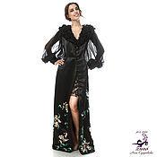 """Платье-пальто вышитое """"Шелковая Орхидея"""" из атласа с вышивкой,"""