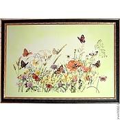 """Картины и панно ручной работы. Ярмарка Мастеров - ручная работа картина """"Бабочки в цветах"""". Handmade."""