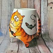 """Посуда ручной работы. Ярмарка Мастеров - ручная работа """"Рыбалка рыжего кота"""" - чашка с ножками. Handmade."""