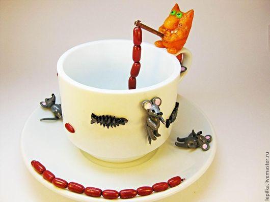 """Кружки и чашки ручной работы. Ярмарка Мастеров - ручная работа. Купить Кофейный набор """"Кот-рыбак"""". Handmade. Белый, мышь"""
