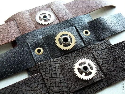 """Украшения для мужчин, ручной работы. Ярмарка Мастеров - ручная работа. Купить """"Кожа + шестеренки"""" серия браслетов. Handmade."""