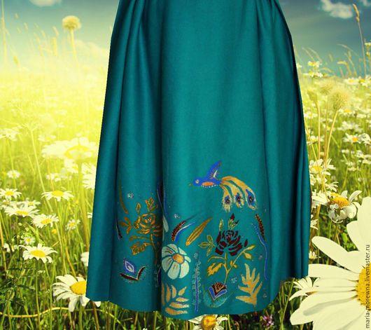 Юбка из джерси `Ромашковое поле` ромашка юбка на резинке юбка с цветами с росписью