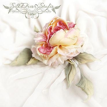 Украшения ручной работы. Ярмарка Мастеров - ручная работа Брошь цветок из ткани Розы остина. Handmade.