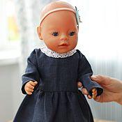 handmade. Livemaster - original item Clothing for dolls, dark blue dress for dolls made of natural linen. Handmade.